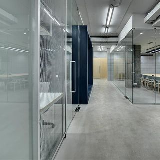 Concrete flooring in office